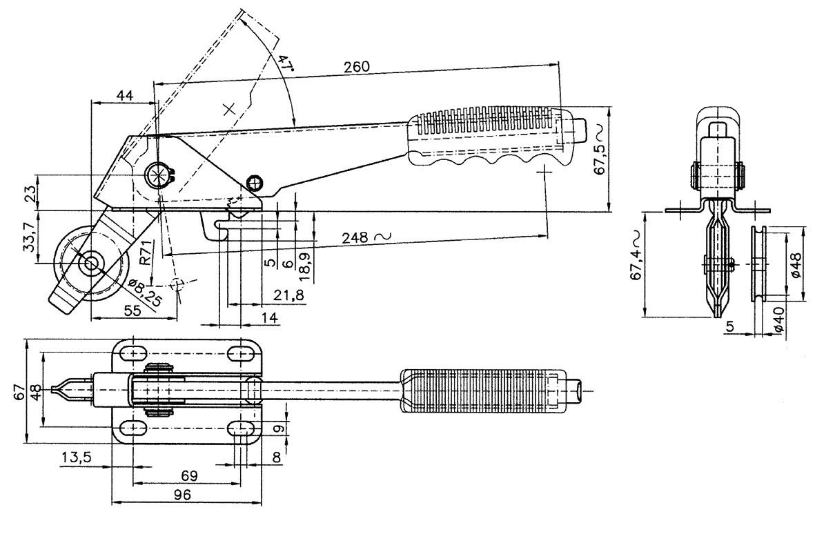Levier de frein à main avec poulie nylon 2