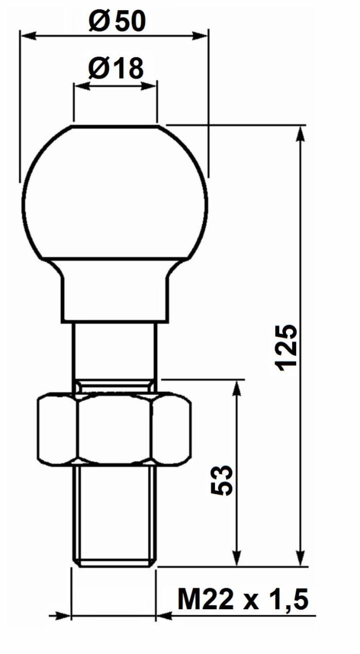 Boule d'attelage ø 50 mm à visser 3500 Kg 2