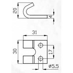 Crochet griffe plat pour fermeture réglable légère (Lot de 5 )