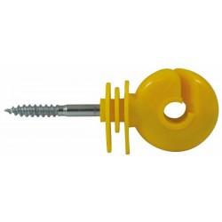 Isolateur jaune à vis pour bois dur (Lot de 25 )